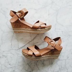 Franco Sarto Leather Yara Cork Wedge Sandals